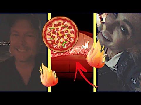Gwen Stefani & Blake Shelton pizza night 😀