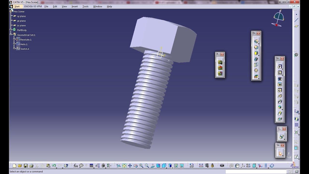 Catia V5 Tutorial How To Create Threaded Hex Screw Easy