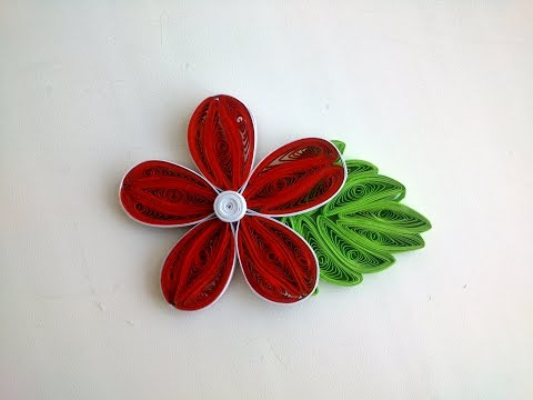 Quilling Art Tutorial - Quilling flower tutorial, quilling Leaves tutorial.