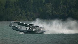 Seaplane Performs Spin Upon Water Landing