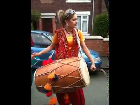 Punjabi Girl With Dhol on Rihana -Rude boy