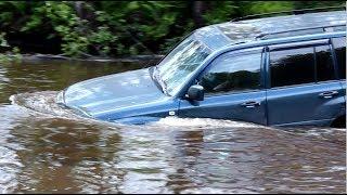 Брод через реку: Toyota Land Cruiser 100, УАЗы,  Нивы, Патриот, Land Rover, Паджеро.Часть2