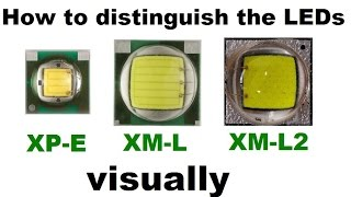 How to distinguish LEDs CREE XM-L T6, XM-L2 U2 and XP-E Q5 visually (external differences)