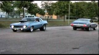 Camaro z28 & Oldsmobile Cutlass 500 HP burnout & race