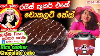 Rice cooker chocolate cake by Apé Amma