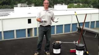 How to Apply low-odor Roof Maintenance Coating on flat roof - Karnak 220 Fibered Asphalt Emulsion