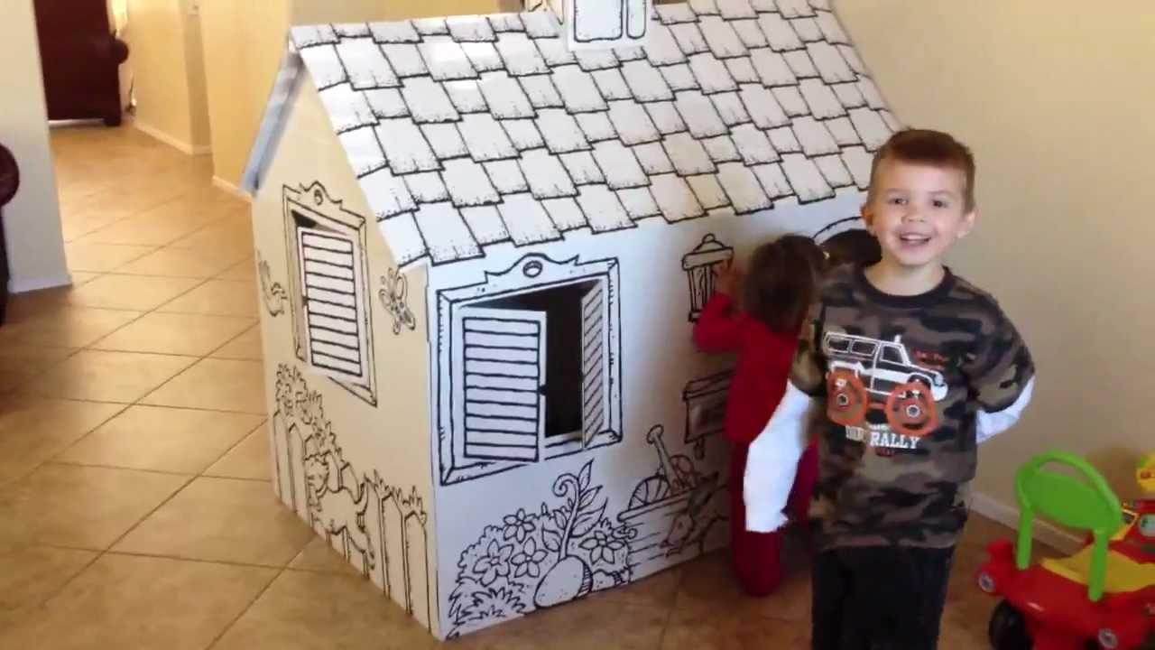 Discovery Kids Color Me Cardboard Playhouse Kids Indoor