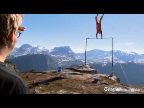 BASE jumper survives cliff edge stunt fail in Norway