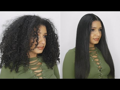 How To Go From Curly To Frizz Free Straight Hair Tutorial - Natural Hair Straightening Routine