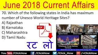 Important June 2018 Current Affairs Quiz Question with Answers | Test Your Knowledge | Click How