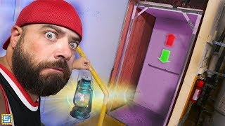 Trapped Inside Mystery Box ELEVATOR Escape Room for 24 Hours!!