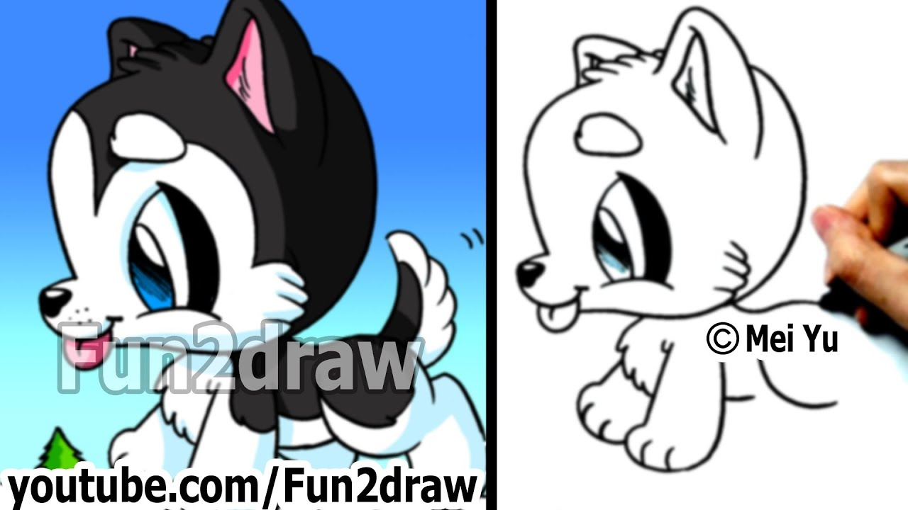 Simple Wolf Pup Drawing Husky Puppy How to Draw a