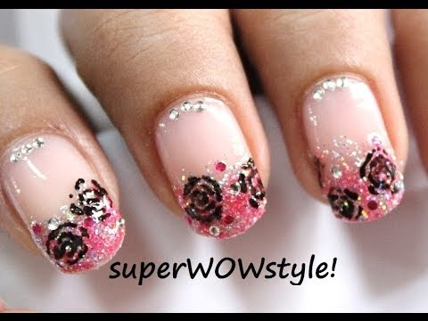 toothpick roses dreamy pink glitter tip french manicure