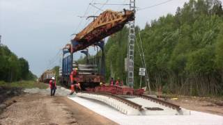 Рабочий цикл крана УК-25/19 / Work cycle of railway montage crane UK-25/19