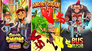Subway Sufers 2017 🚦 Vs 🚦  Angry Gran Run 🚦 Vs 🚦 Bus Rush ALL 3 IN ONE android ios games on youtube