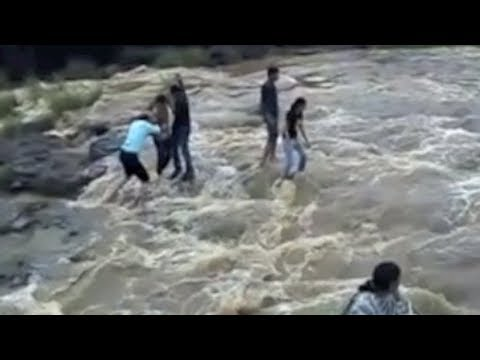 Indore India Patalpani Waterfall Accident - Family Swept Away