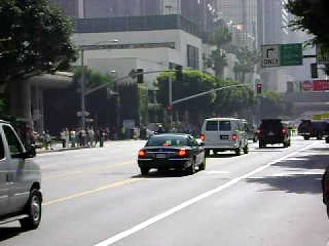 President Obama's motorcade in downtown Los Angeles