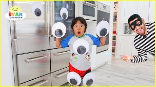 Ryan Pretend Play with Giant Magical Googly Eyes everywhere!!!!