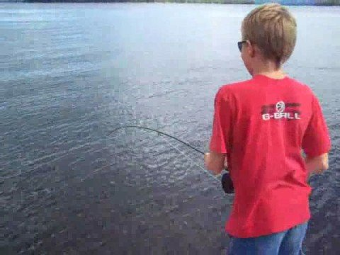 Austin loses a salmon at lake Winnipesaukee