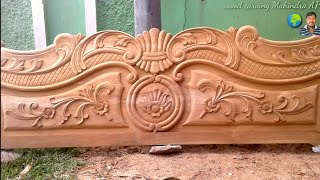 double cot designs top plank down Plank full double cot designs wood carving Mahindra AP