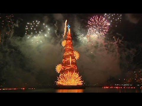 Rio de Janeiro unveils 85-metre-tall floating Christmas 'tree' - no comment