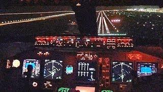 KLM B747-400F Cockpit - Landing Dubai World Centre, Al Maktoum Intl DWC Airport