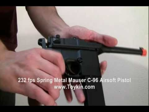 232 fps Spring Full Metal Mauser C-96 Airsoft Pistol