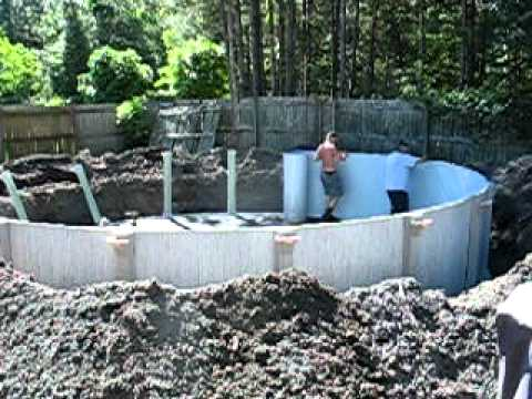 Above ground pool sunk 2 1 2 feet day 2 youtube - 8 foot above ground swimming pools ...