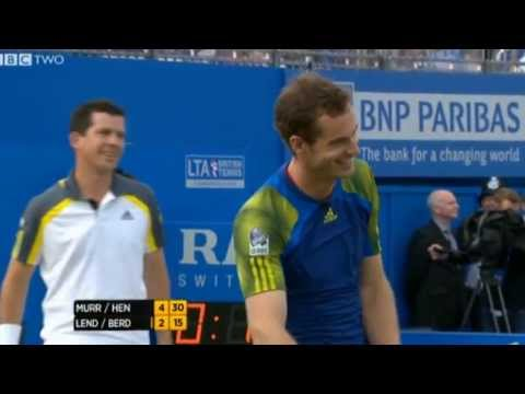 Andy Murray hits coach Ivan Lendl