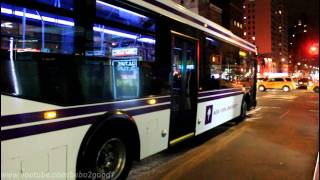 MaBSTOA Bus: M23 / M101 / M102 / M103 & NYU Route E at 23rd & 24th St / 3rd Ave @ NIGHT