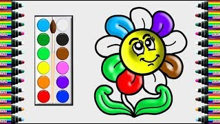 How to draw colorful flower for kids - Drawing and coloring for children - bé yêu