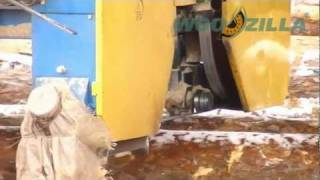 Sawing of pine logs with a band sawmill | Exports of timber from Ukraine