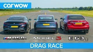 BMW M850i vs Tesla Model 3 vs Mercedes-AMG E63 S - DRAG RACE, ROLLING RACE & BRAKE TEST