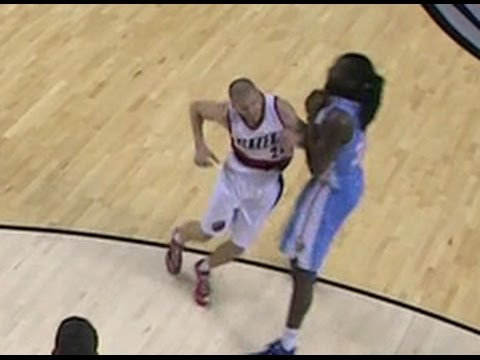 Steve Blake drops Kenneth Faried (Denver Nuggets at Portland Trail Blazers)