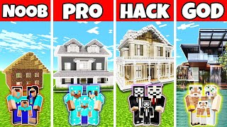 Minecraft: FAMILY MODERN MANSION BUILD CHALLENGE - NOOB vs PRO vs HACKER vs GOD in Minecraft