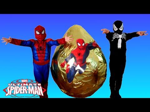 GIANT EGG SURPRISE OPENING SPIDERMAN Marvel Superhero Toys Kids Video Spiderman Vs Venom