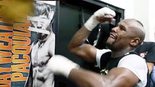 Watch Floyd Mayweather show crazy hand speed on speed bag ahead of Pacquiao fight