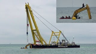 Submerged CAT Elevated Excavator #mobydig Salvaged By Dutch Crane Ship Cormorant