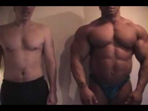 Bodybuilder and Little Guy