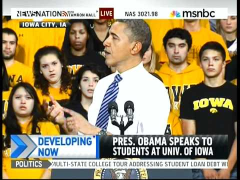 President Obama at University of Iowa, on Student Loans