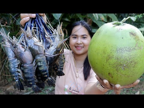 Awesome Cooking : Giant River Prawns With Coconut Water Recipe - Cook & Eating Food Show