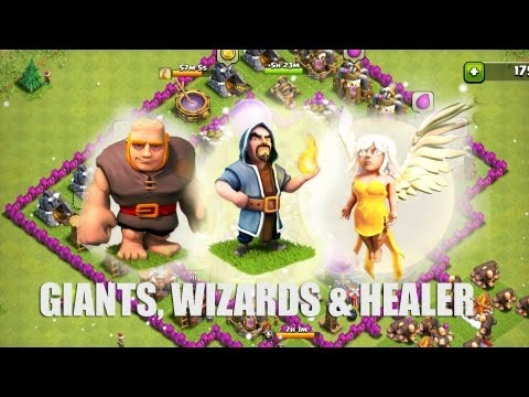Clash of Clans - Part 16 - Giants. Wizards  Healer Rush!