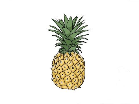 Видео как нарисовать ананас