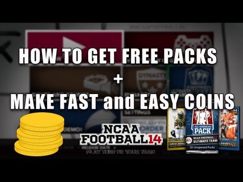 NCAA Football 14 Ultimate Team - How To Get FREE Packs + Make Coins Fast and Easy - NCAA Football 14