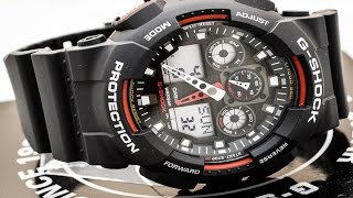 Casio GSHOCK XL GA100-1A4 REVIEW | How To Set Time | LIGHT DISPLAY