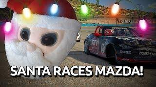 Santa races mazda cup! Delivering presents early!