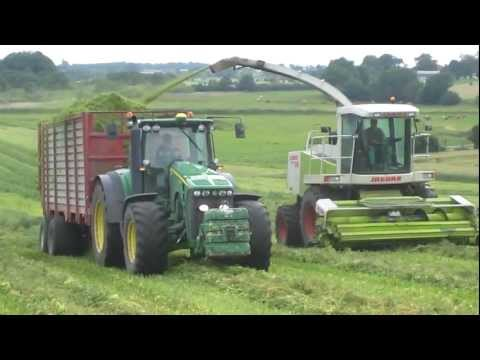 Video: Claas Jaguar 840. John Deere 8320. John Deere 6600. Heston 6500.Maize harvesting 2011