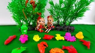Đồ chơi trẻ em bé đi câu cá búp bê Barbie đi câu cá về cho mẹ nấu canh chua