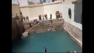 Fearless diving into ruins of Roman pool