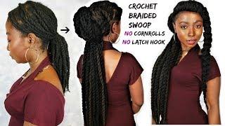 Crochet Braided Swoop Natural Hair Tutorial | Low Manipulation Hair Style